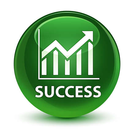 Success (statistics icon) isolated on glassy soft green round button abstract illustration Stock Photo