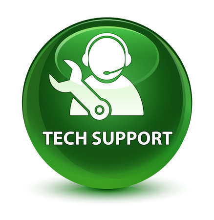 technology: Tech support isolated on glassy soft green round button abstract illustration