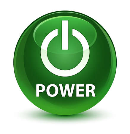 Power isolated on glassy soft green round button abstract illustration