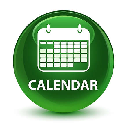 Calendar isolated on glassy soft green round button abstract illustration Stock Photo