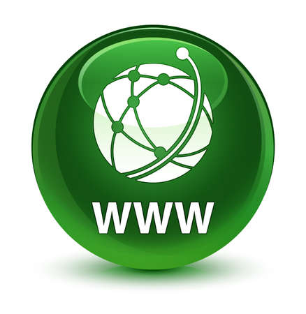 WWW (global network icon) isolated on glassy soft green round button abstract illustration