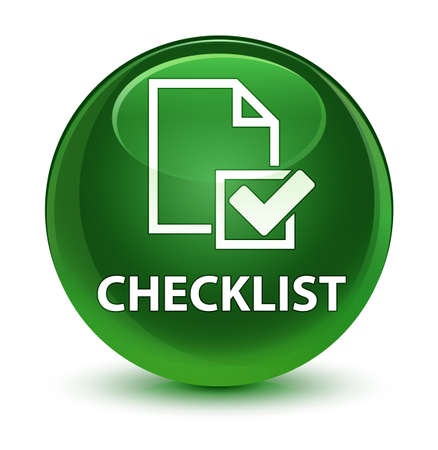 checklist: Checklist isolated on glassy soft green round button abstract illustration