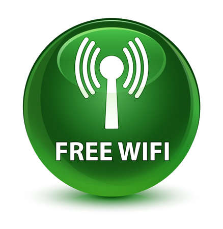 Free wifi (wlan network) isolated on glassy soft green round button abstract illustration