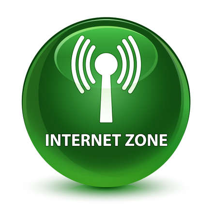 Internet zone (wlan network) isolated on glassy soft green round button abstract illustration