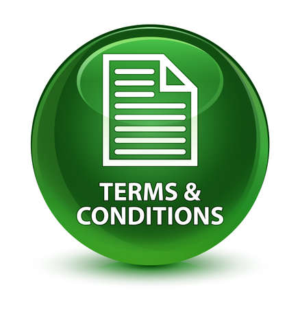 Terms and conditions (page icon) isolated on glassy soft green round button abstract illustration