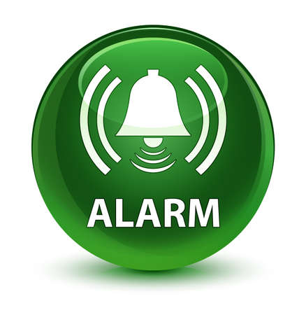 Alarm (bell icon) isolated on glassy soft green round button abstract illustration Stock Photo