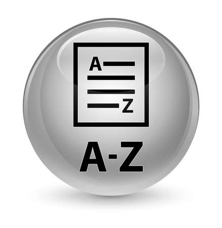 az: A-Z (list page icon) isolated on glassy white round button abstract illustration