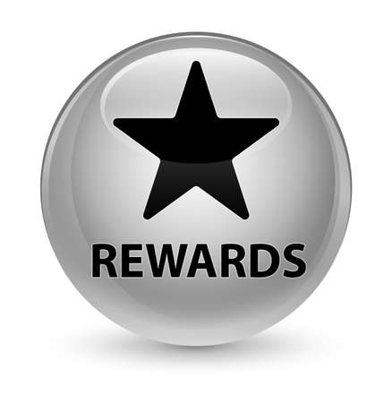 Rewards (star icon) isolated on glassy white round button abstract illustration