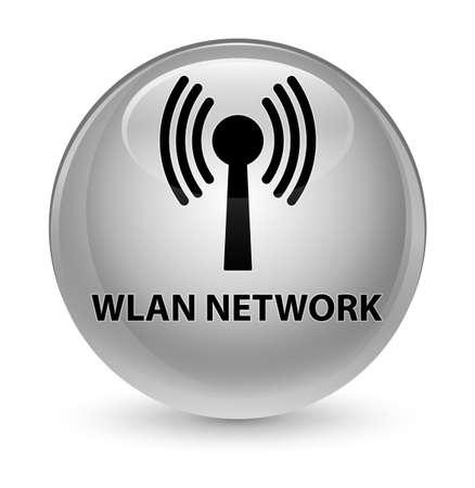 Réseau wlan isolé sur vitreux bouton rond blanc illustration vectorielle Banque d'images - 82173064
