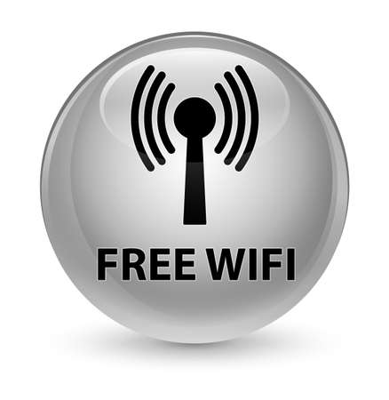 Free wifi (wlan network) isolated on glassy white round button abstract illustration Stock Photo