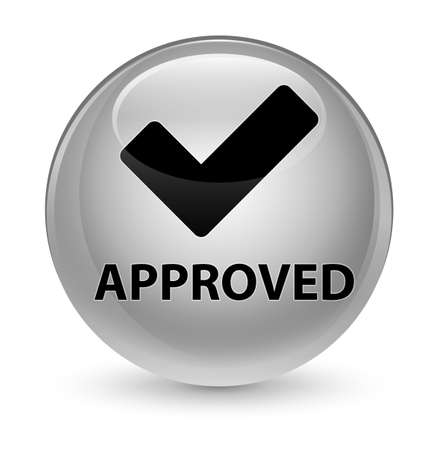 valid: Approved (validate icon) isolated on glassy white round button abstract illustration