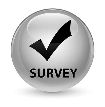 Survey (validate icon) isolated on glassy white round button abstract illustration Stock Photo