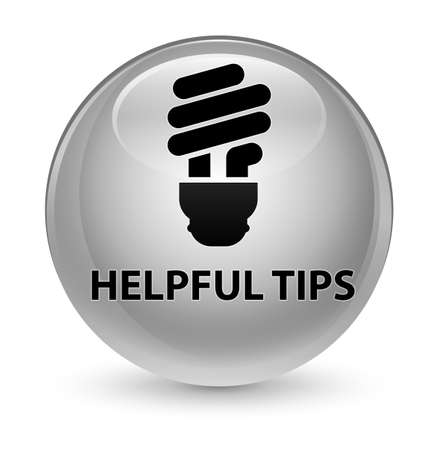Helpful tips (bulb icon) isolated on glassy white round button abstract illustration