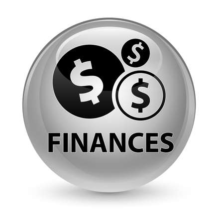 cash: Finances (dollar sign) isolated on glassy white round button abstract illustration Stock Photo