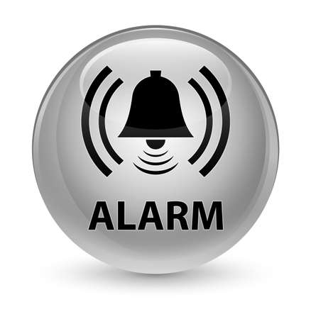 Alarm (bell icon) isolated on glassy white round button abstract illustration
