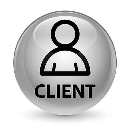 consumer: Client (member icon) isolated on glassy white round button abstract illustration