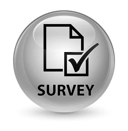 reviews: Survey isolated on glassy white round button abstract illustration