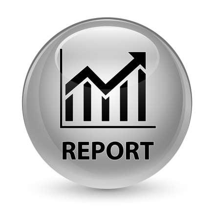 bar: Report (statistics icon) isolated on glassy white round button abstract illustration