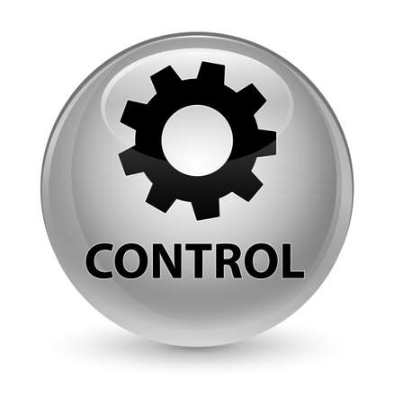 gears: Control (settings icon) isolated on glassy white round button abstract illustration Stock Photo