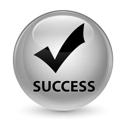 Success (validate icon) isolated on glassy white round button abstract illustration