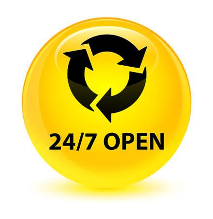 247 offen isoliert auf glasigen gelben runden Knopf abstrakte Darstellung Standard-Bild