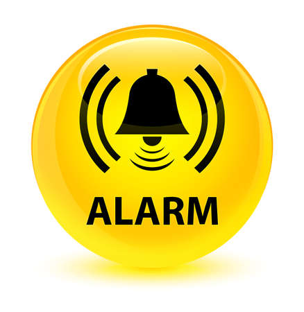Alarm (bell icon) isolated on glassy yellow round button abstract illustration Stock Photo