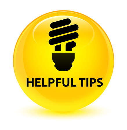 Helpful tips (bulb icon) isolated on glassy yellow round button abstract illustration