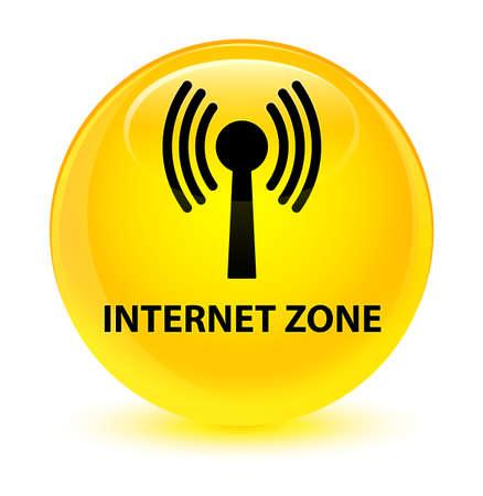 Zone Internet (réseau WLAN) isolé sur illustration abstraite bouton rond jaune vitreux Banque d'images - 82189707