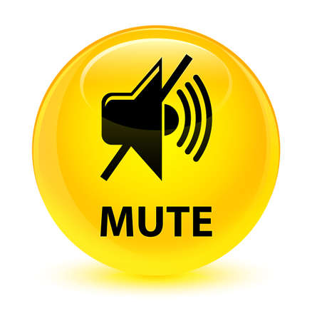 silent: Mute isolated on glassy yellow round button abstract illustration