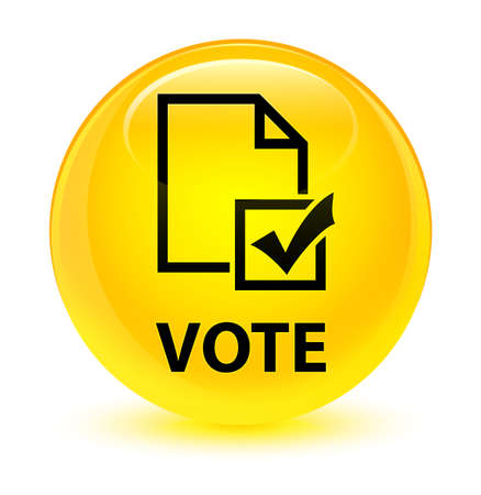 Vote (survey icon) isolated on glassy yellow round button abstract illustration