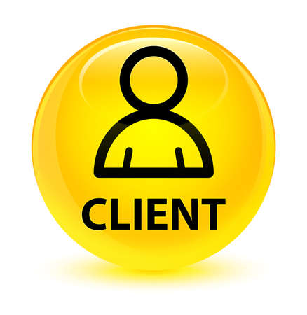 Client (member icon) isolated on glassy yellow round button abstract illustration