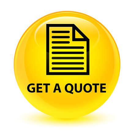 get in shape: Get a quote (page icon) isolated on glassy yellow round button abstract illustration Stock Photo