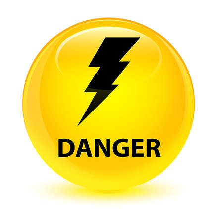 danger: Danger (electricity icon) isolated on glassy yellow round button abstract illustration