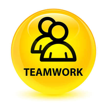 Teamwork (group icon) isolated on glassy yellow round button abstract illustration Stock Photo