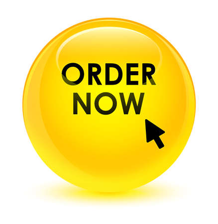 Order now isolated on glassy yellow round button abstract illustration