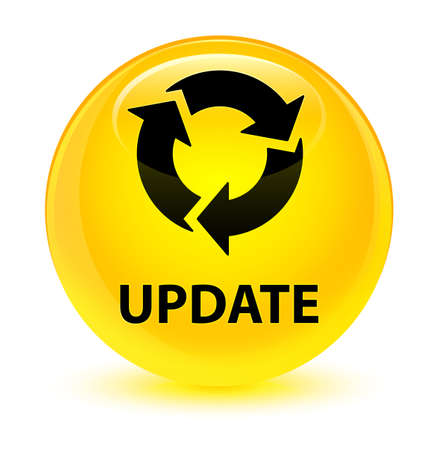 Update (refresh icon) isolated on glassy yellow round button abstract illustration Stock Photo