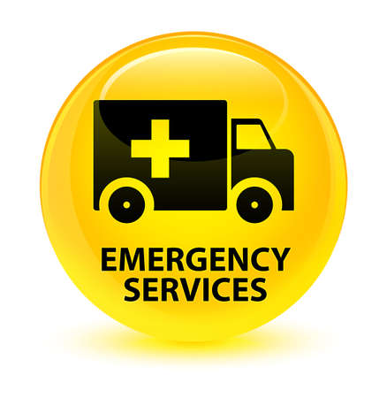 medical illustration: Emergency services isolated on glassy yellow round button abstract illustration