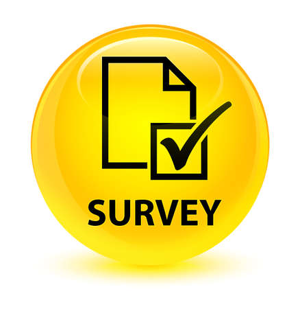 checklist: Survey isolated on glassy yellow round button abstract illustration