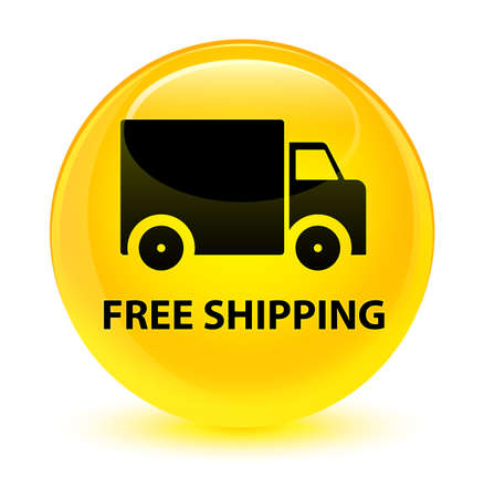moving truck: Free shipping isolated on glassy yellow round button abstract illustration
