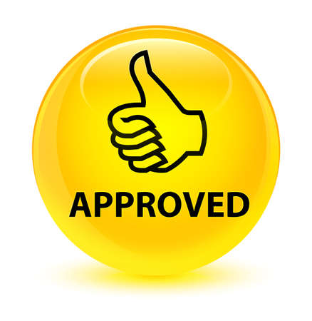 Approved (thumbs up icon) isolated on glassy yellow round button abstract illustration