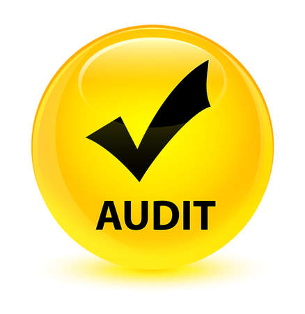 Audit (validate icon) isolated on glassy yellow round button abstract illustration