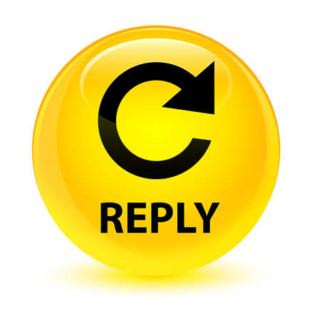 Reply (rotate arrow icon) isolated on glassy yellow round button abstract illustration