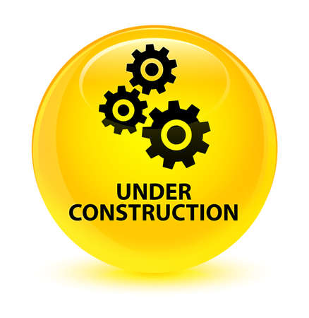gears: Under construction (gears icon) isolated on glassy yellow round button abstract illustration