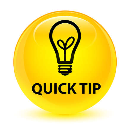 Quick tip (bulb icon) isolated on glassy yellow round button abstract illustration