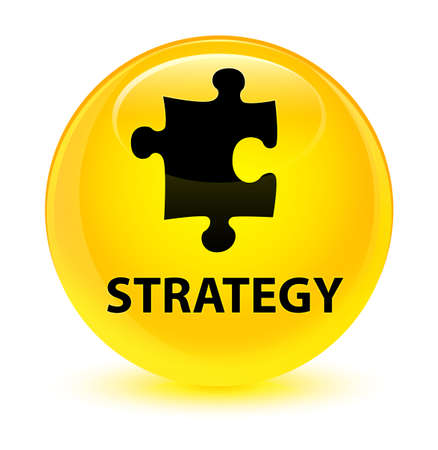tactics: Strategy (puzzle icon) isolated on glassy yellow round button abstract illustration Stock Photo