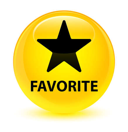 Favorite (star icon) isolated on glassy yellow round button abstract illustration