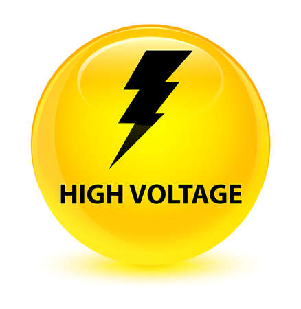 High voltage (electricity icon) isolated on glassy yellow round button abstract illustration