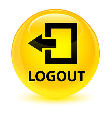 Logout isolated on glassy yellow round button abstract illustration