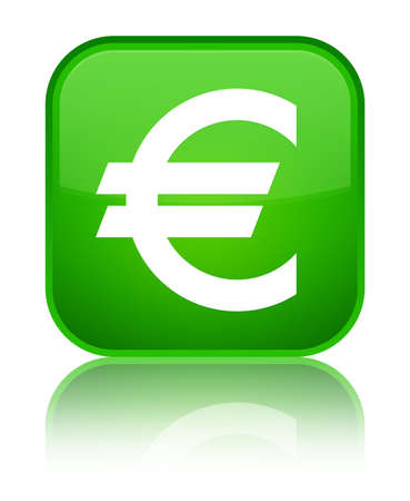 Euro sign icon isolated on special green square button reflected abstract illustration
