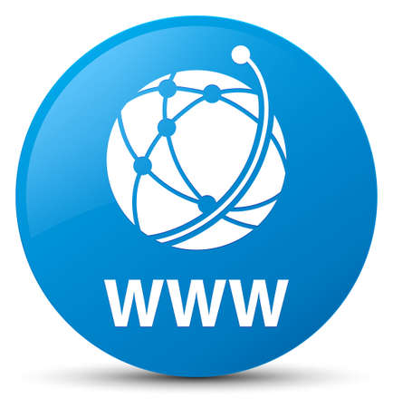 WWW (global network icon) isolated on cyan blue round button abstract illustration Stock Photo